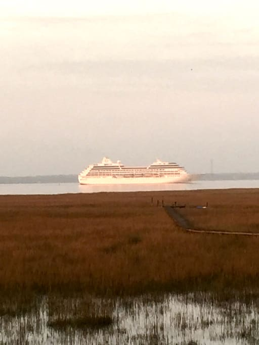 Cruise Ship seen from our home entering Charleston Harbor.