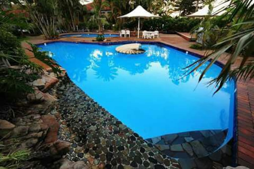 Two gorgeous pools where little baby Eastern Australian water dragon lizards roam. There is a relaxing water feature to sit under. Great for kids or private couple moments until 9pm