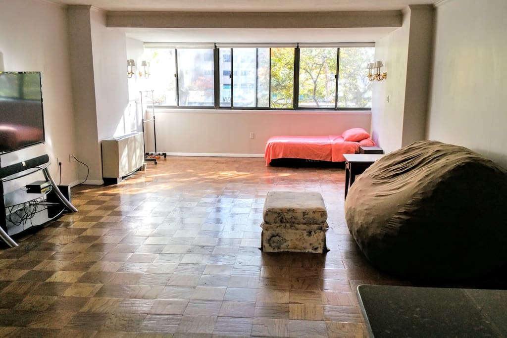 Panoramic view of living space.