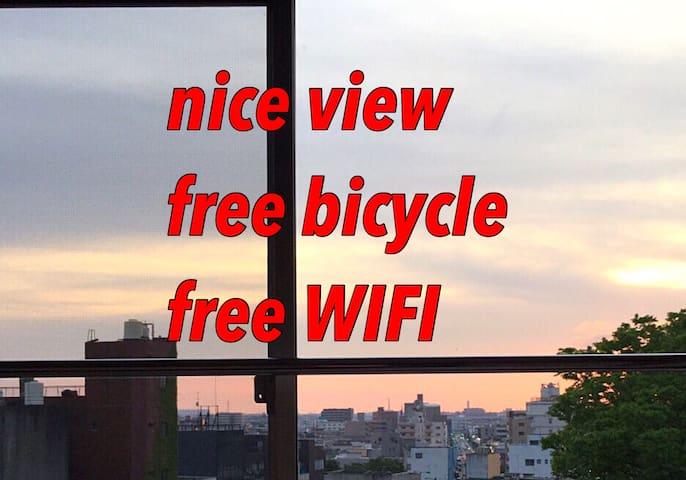 Nice view☆金沢の繁華街まで徒歩3分、幅210cmのマットレスでゆったり寝れます!