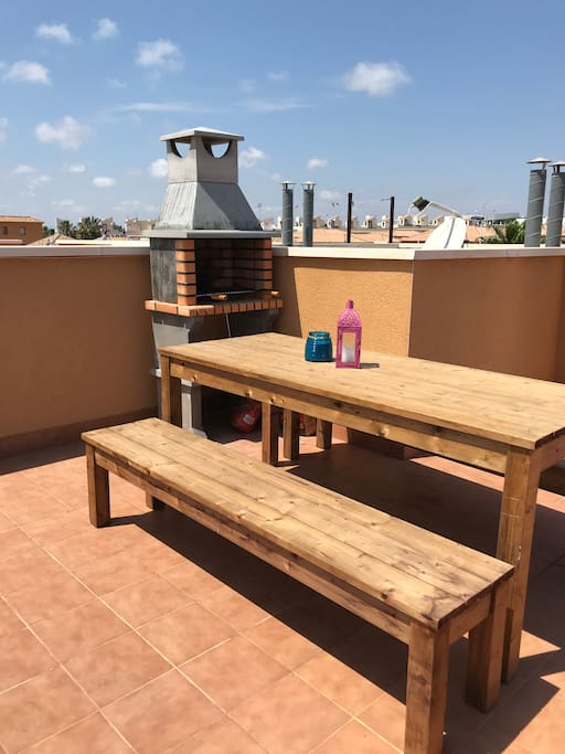 Large roof terrace, equipped with table & benches for up to 8 people, sun loungers and chiminea/bbq. Great for sunbathing in the day or having fun evening bbqs.