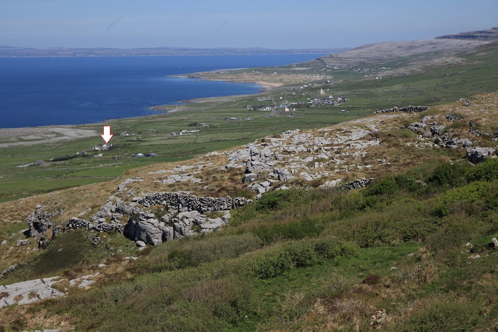 Fanore Bay and our house (arrow)