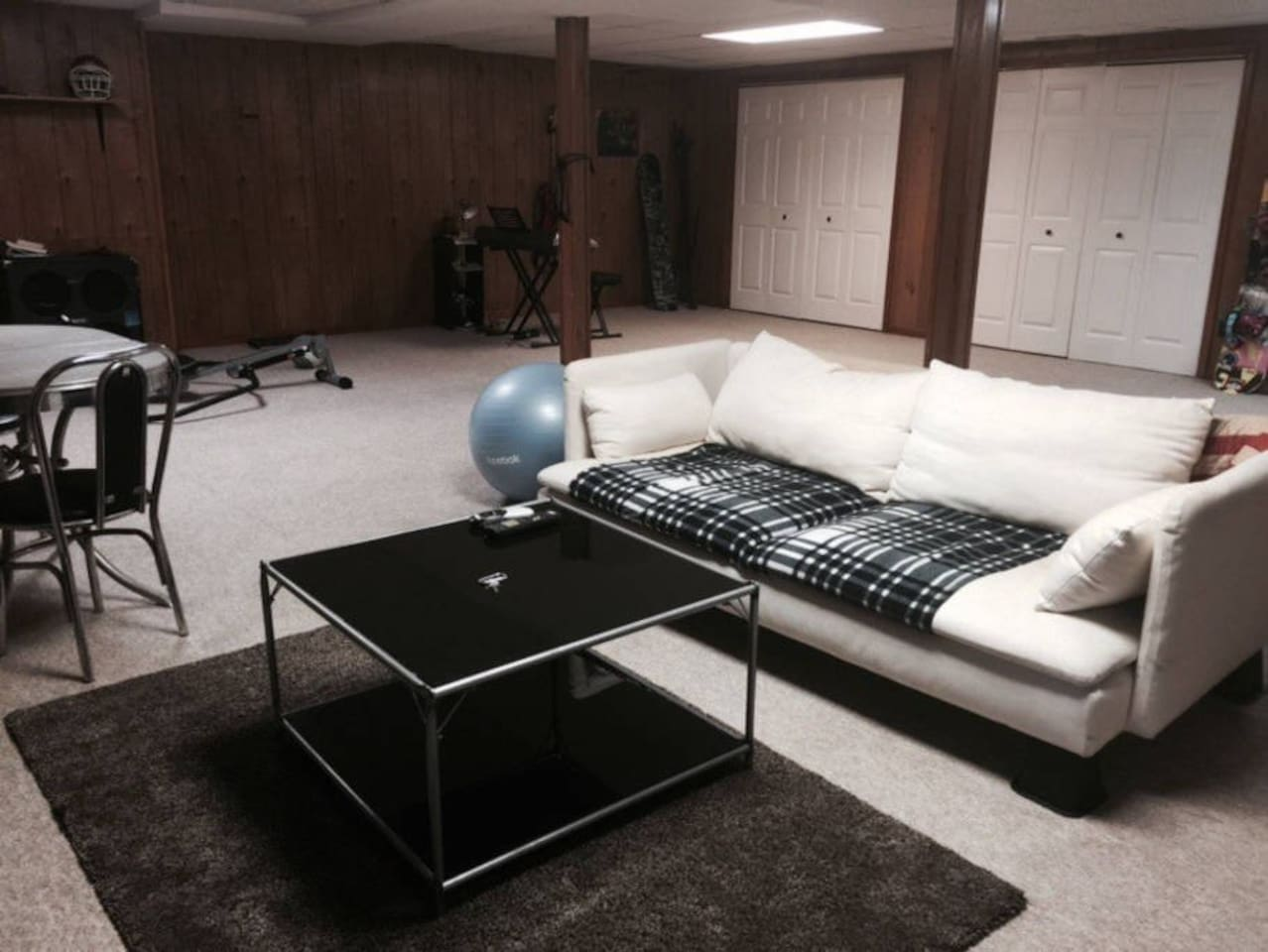 Couch and table in living space