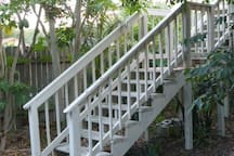 Rear stairs to balcony