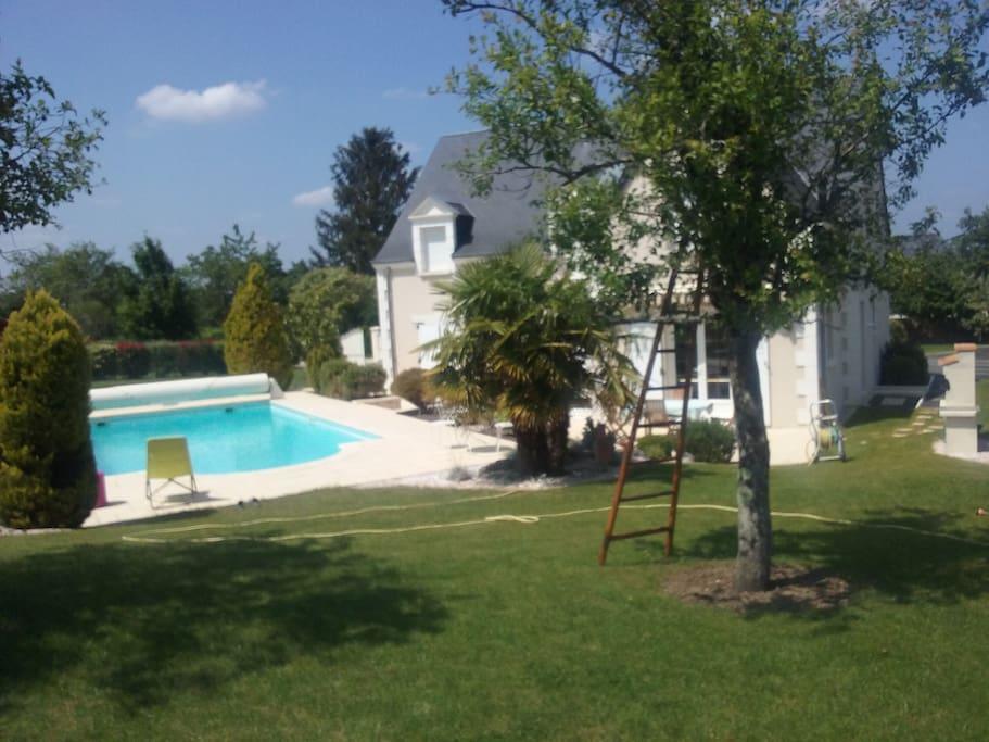 Vue jardin & piscine propriété