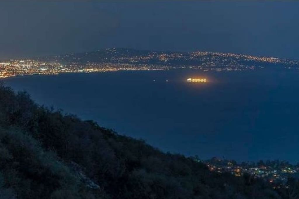 View of LA by night from bluffs. About 2 blocks away.