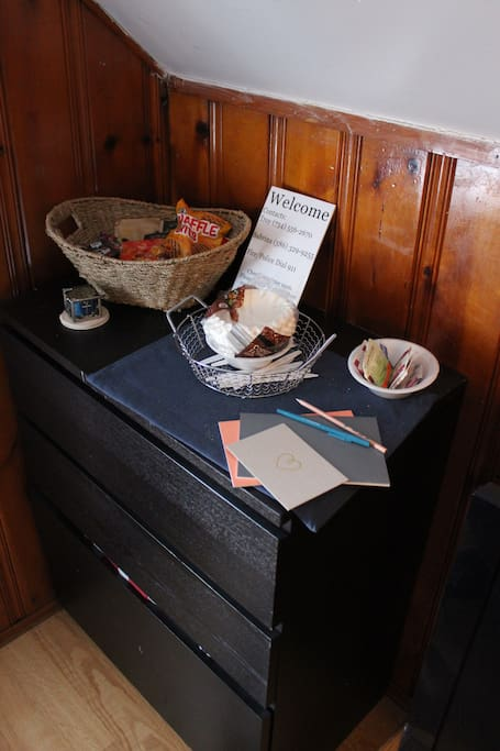 Light snacks, coffee and tea all available in your room.