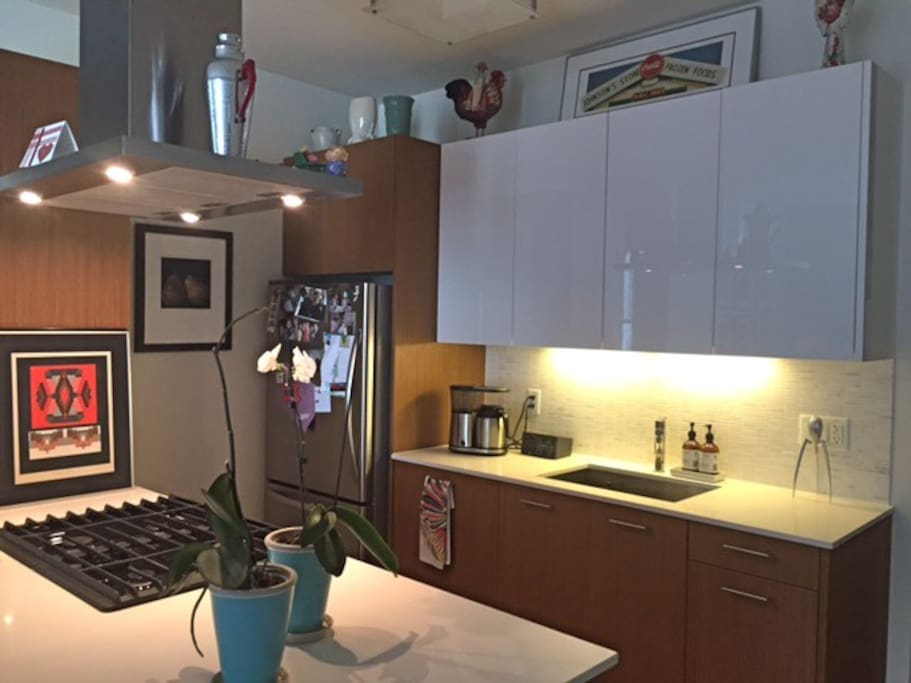 kitchen with microwave, disposal, stainless appliances