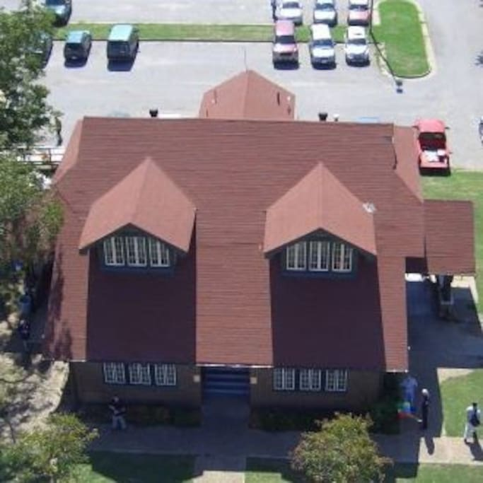 Aerial view of the Firehouse Hostel & Museum