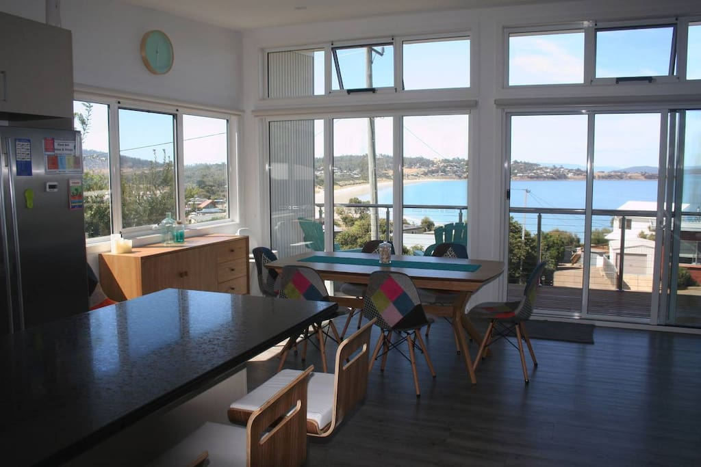 Panoramic view from kitchen, dining and living areas