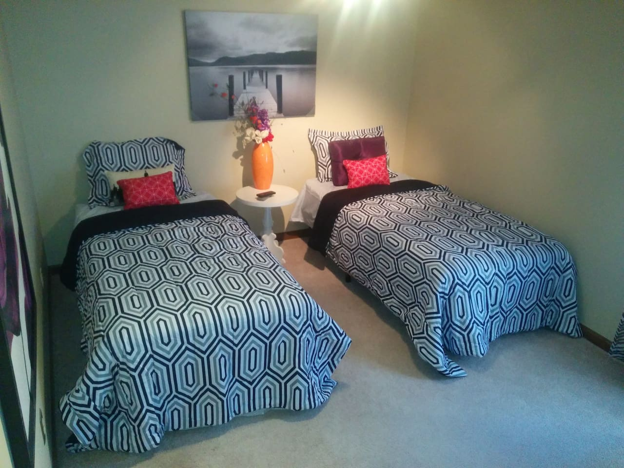 Two comfy twin beds in your own private relaxing room  may be pushed together for a King sized ...
