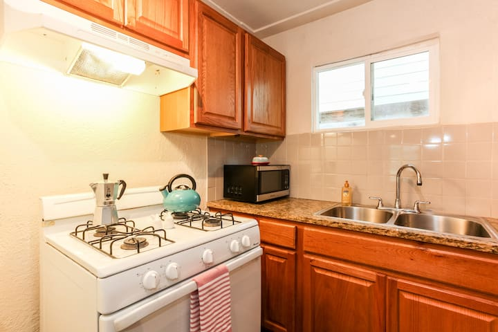 Coffee, tea, beverages, and snacks are all provided for you. The kitchen is stocked with cooking utensils, pots, pans, silverware, etc. if you'd like to cook.