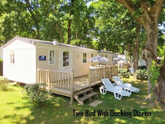Two bed mobile home with decking