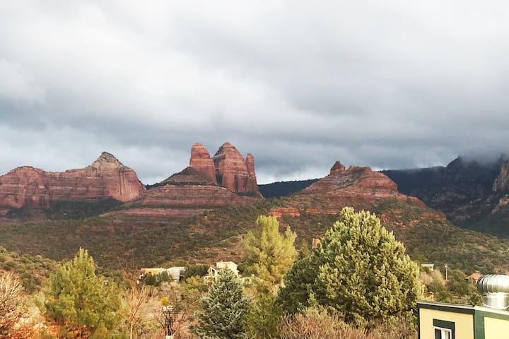 Back yard view of Giant's Thumb  - in UpTown Sedona