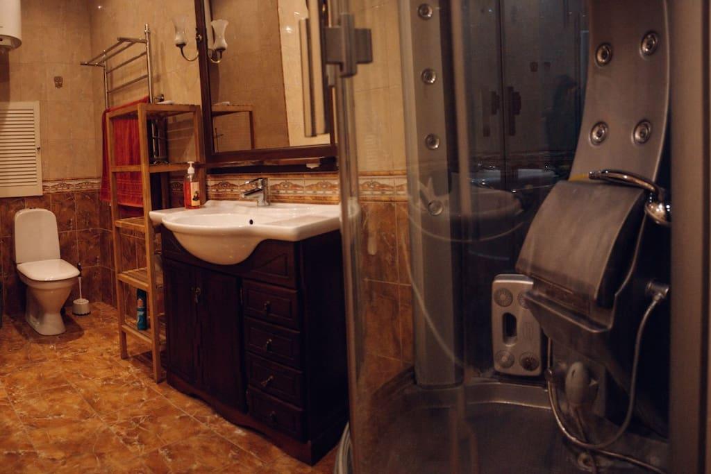 Общая ванная комната и санузел. Включающая в себя: душевую кабину, джакузи, умывальник и унитаз.