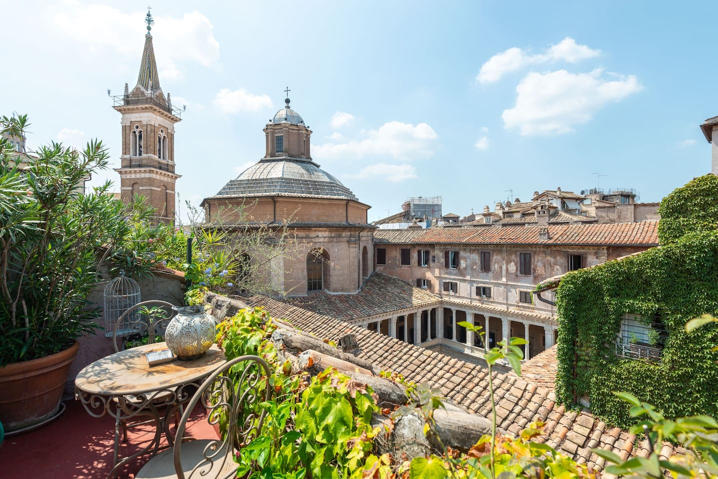 """""""The Bramante Cloister Terrace"""" - Unique view of Chiostro del Bramante and Saint' Mary of Peace's Dome from the main terrace"""