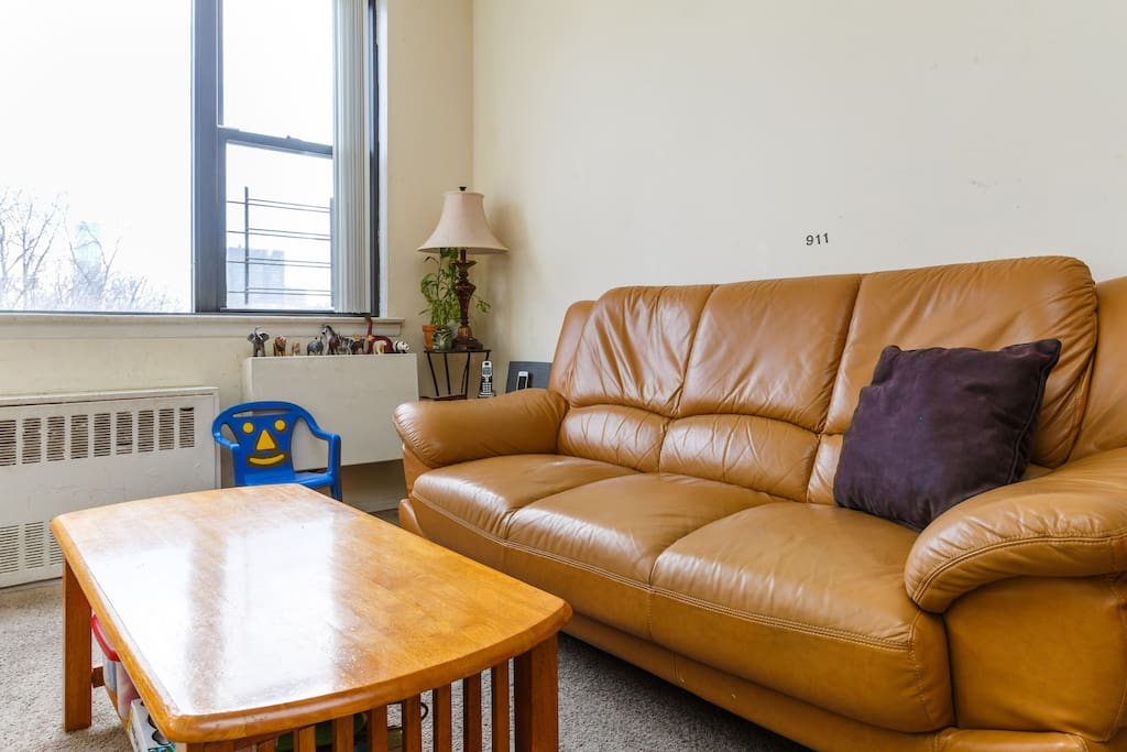 Relax in the Living Room and enjoy uninterrupted views of Central Park. There's Wifi, Directv with DVR, a BOSE speaker with AUX cord to play music from your phone, Wii loaded with Netflix, YouTube, Hulu Plus and much more! There's also a home phone guests can use to call all 50 states for FREE.