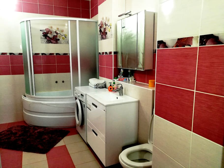 Big bathroom : Bath/Shower ,washing mashine ,shampoo,shower gel,towels provided