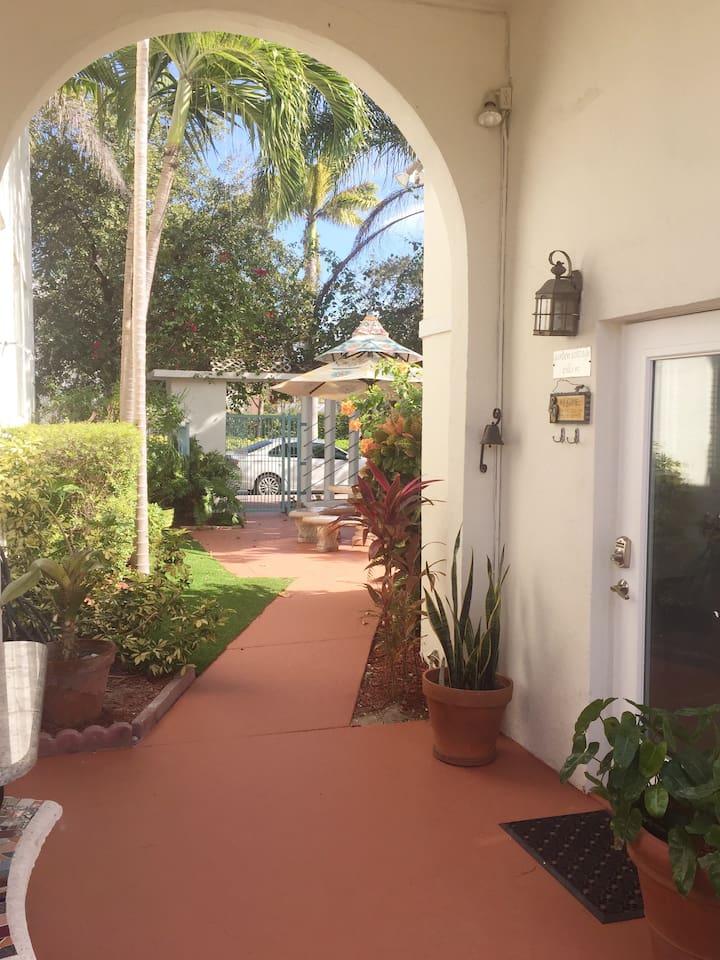 Cottage entrance thru garden