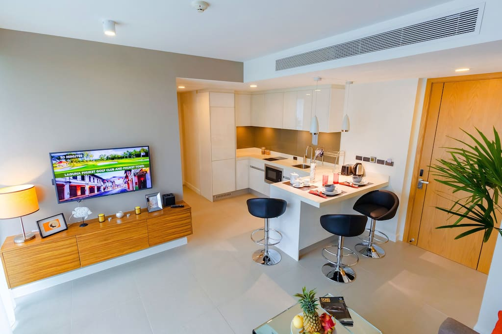 You can eat and watch TV in the kitchen