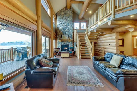 Lakefront log home w/ private dock and mountain views!