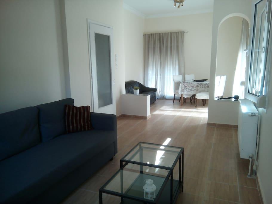 Spacious living room full of Attica's sun light