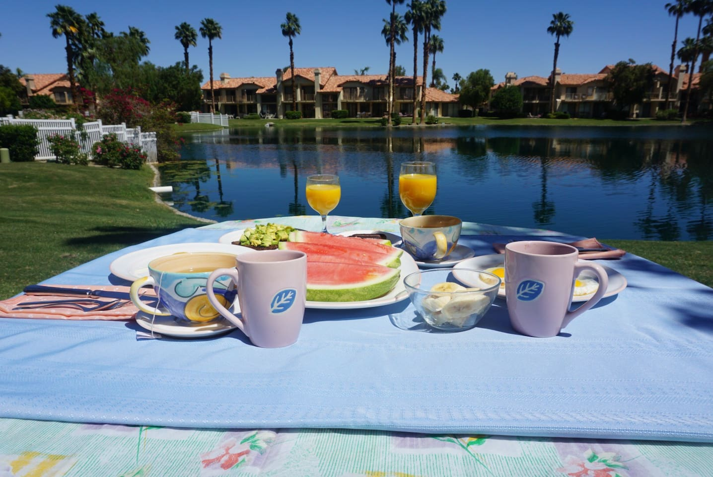 Breakfast on the condo patio with lake view, made by me &a photo taken by me