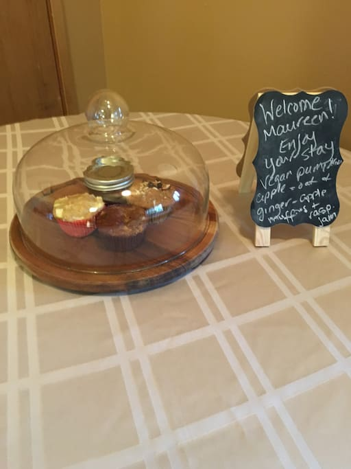 On the first night of your stay, you'll be greeted with homemade muffins and raspberry jam from berries we grew right here on the property.