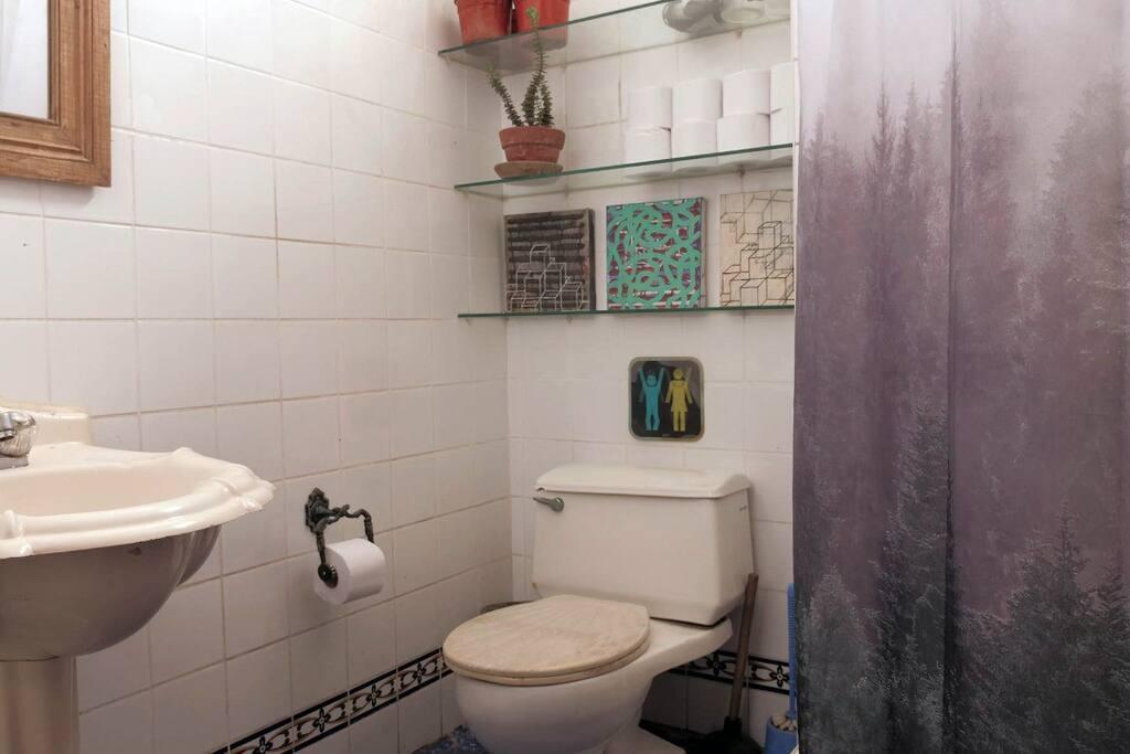 Baño con ducha española y calentador a gas