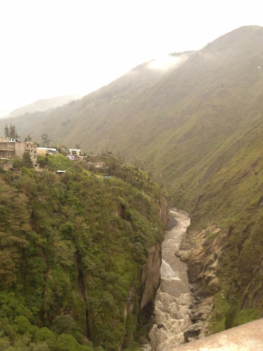 Viewing the river the rides along the mountains of Volcano Tungurahua.
