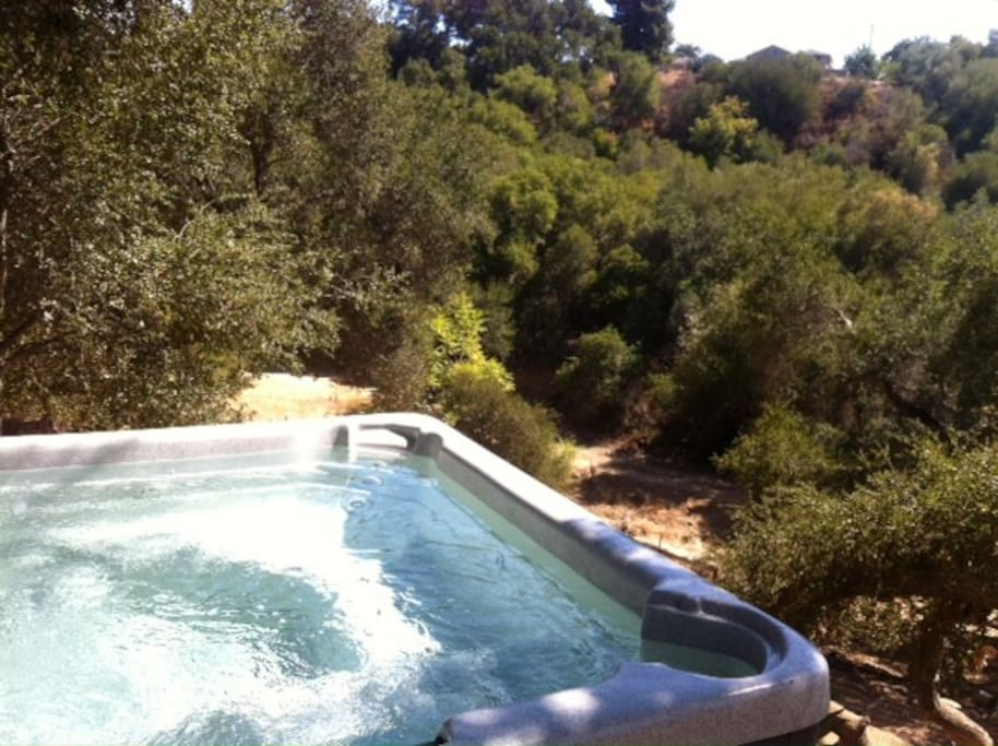 Chill in your private Jacuzzi over looking the ravine