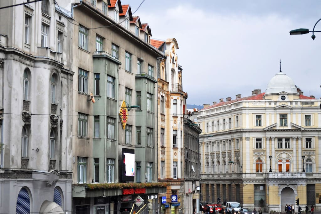 View of the Eternal flame, one of the most famous landmarks in Sarajevo