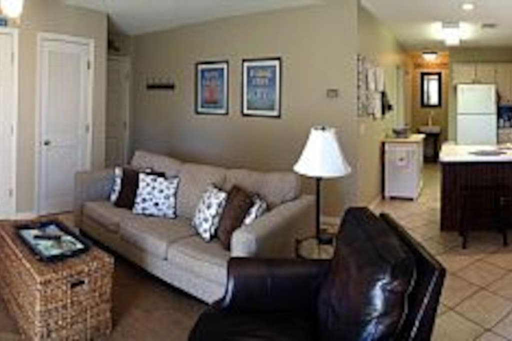 living area plus kitchen..  wall mounted Smart HDTV, Bluetooth speaker, kitchen fully stocked.