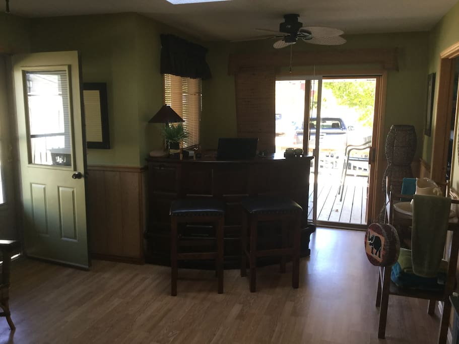This is out family room with bar.