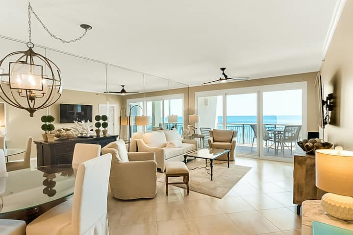 Beachfront open-concept home with  balcony, shared lagoon pool  & beach access