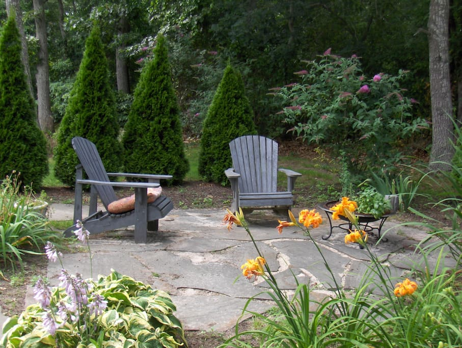 Relax in one of many garden patios