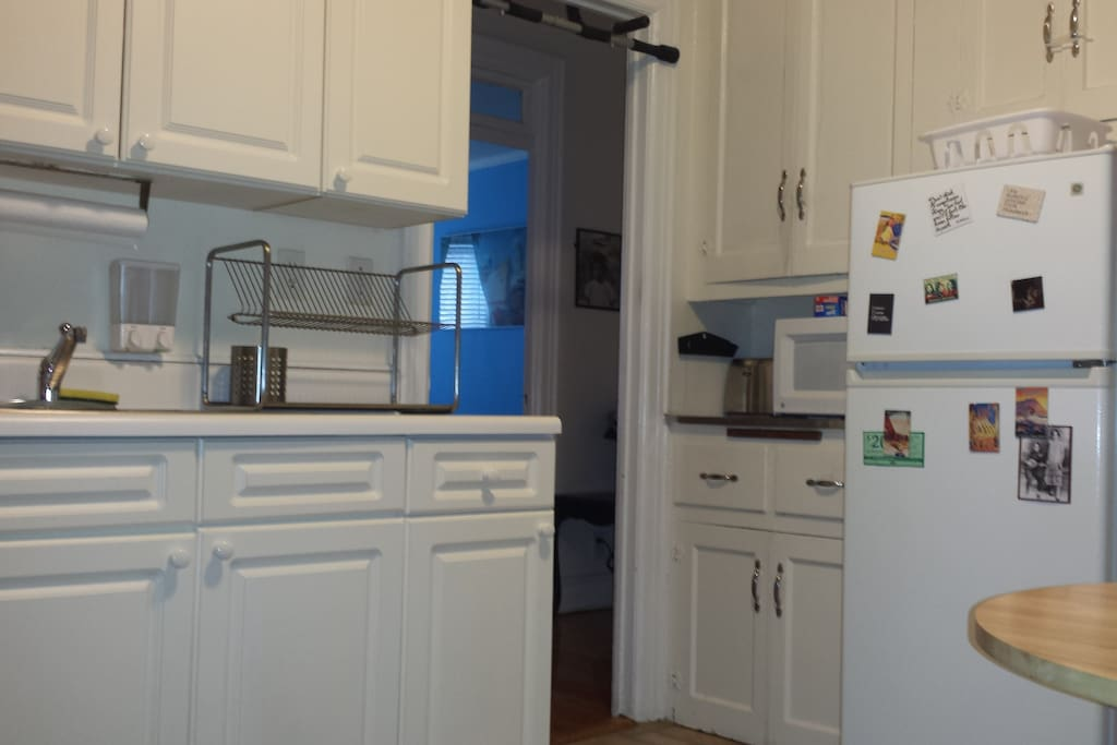 Kitchen has stove, microwave and toaster, plenty of room to cook.