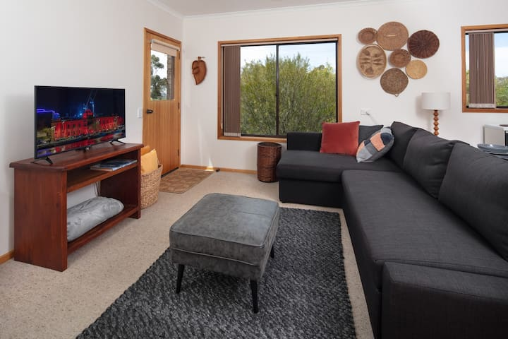 Open plan living with comfy couch by day and comfy sofa bed by night