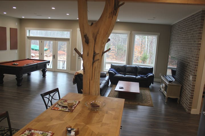 Living area with large landscape windows that make you feel you are part of the forest