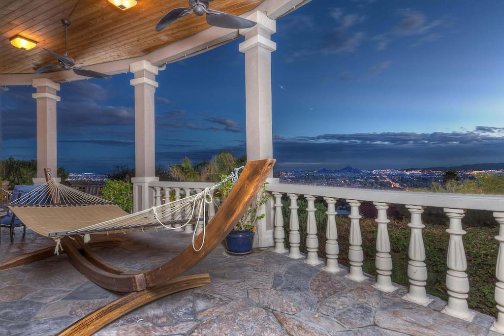Enjoy a glass of wine on the hammock and take in the view