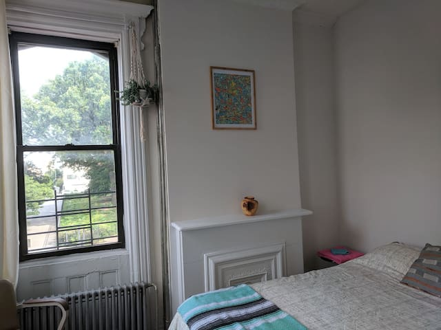 Bright Bushwick room with view of park