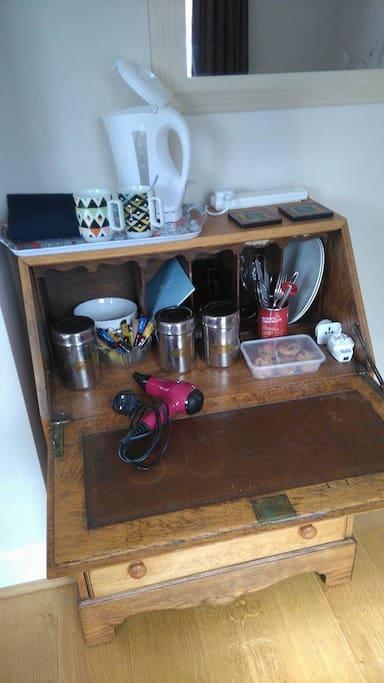 Own Tea & Coffee making facilities, biscuits, hairdryer, usb plug, etc