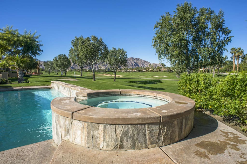 Saltwater Pool and Spa with Golf Course and Mountain View