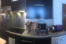 Fully equiped kitchen with ceramic cooking plates, dishwasher  + a Krups coffee maker