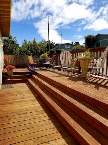 Deck with expansive view of Monterey Bay