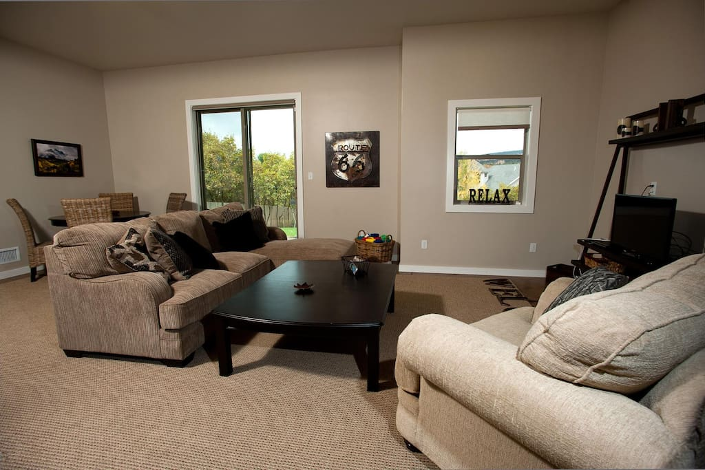 Family room downstairs provides a second living area
