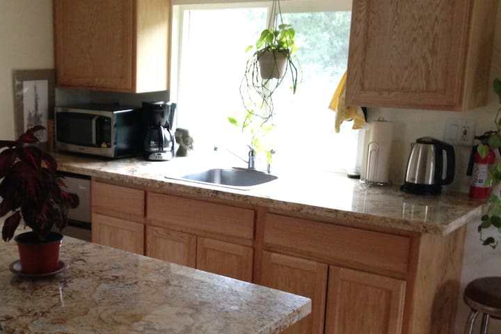 Kitchen, Small Fridge w/Freezer, Microwave, Toaster Oven, Induction Cooktop, Coffee Maker