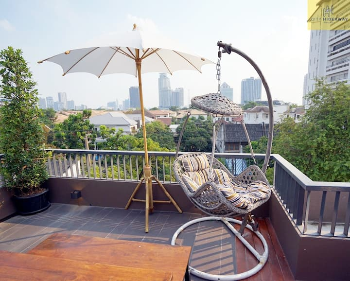Private Double bed on the rooftop with city view