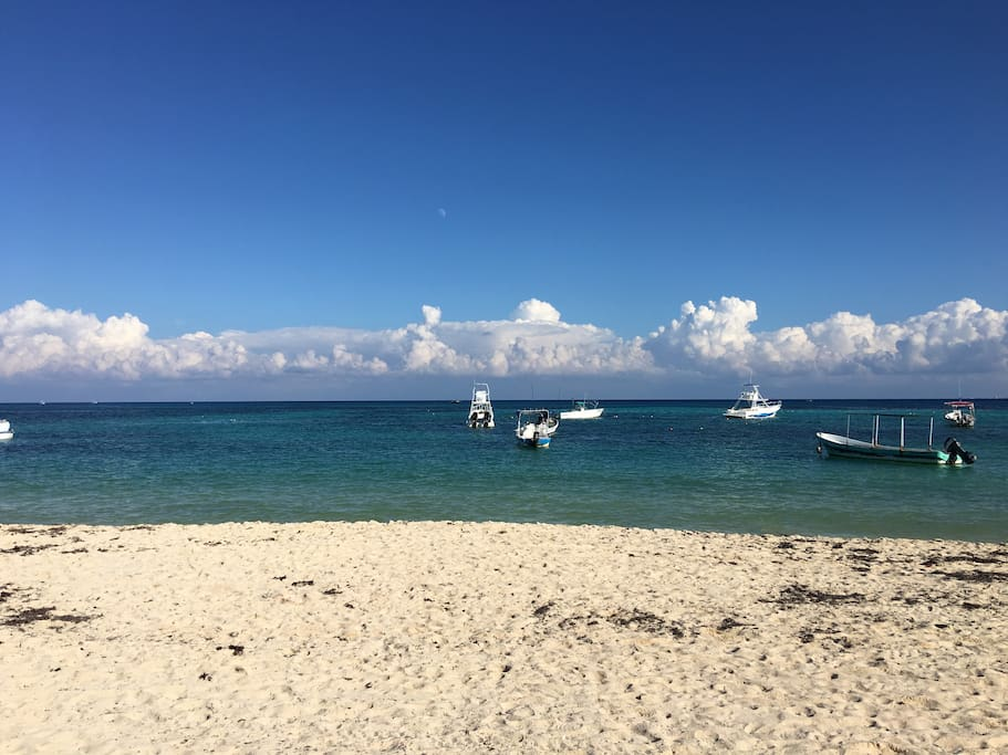 Gorgeous blue water and white sand beaches of Coco Beach and marina.