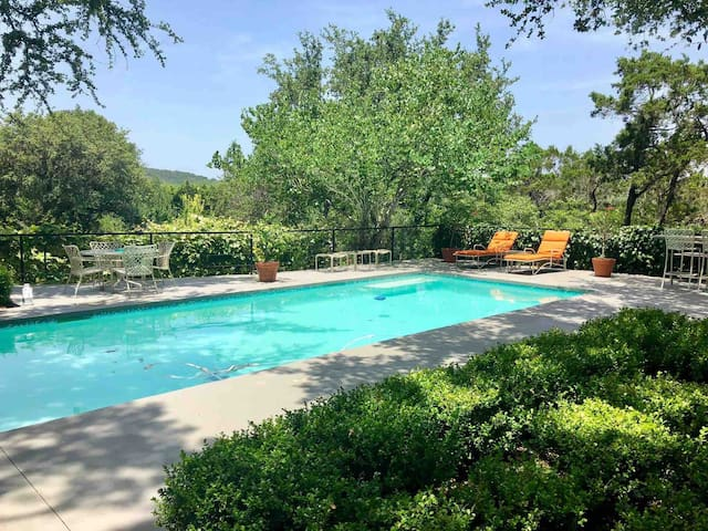 The swimming pool, shared with main house on the property.  Pool towels are provided.